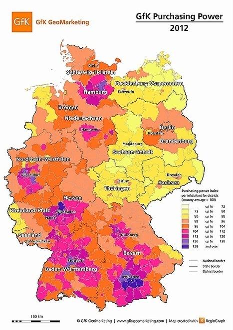 CARTA GEOGRÁFICA: Mapa do Mês – Janeiro 2012: Expectativas do Poder de Compra na Alemanha para 2012 | Geoprocessing | Scoop.it