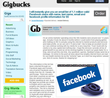 Blogger Buys 1.1 Million Facebook User Emails for $5 | Digitally yours ! | Scoop.it