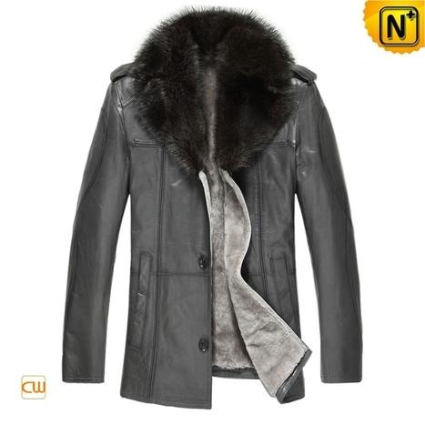 Mens Sheepskin Coat with Fur Collar CW877211 | Men's | Scoop.it