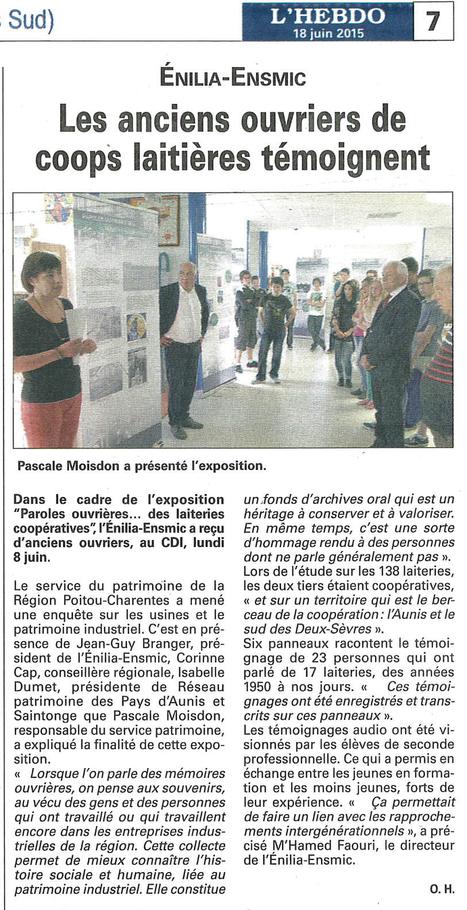 Les anciens ouvriers de coops laitières témoignent - L'Hebdo 18/06/2015   L'Enilia-Ensmic dans la presse   Scoop.it