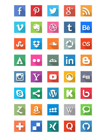 18 Beautiful Free Flat Social Media Icon Sets | Design Resources | Scoop.it