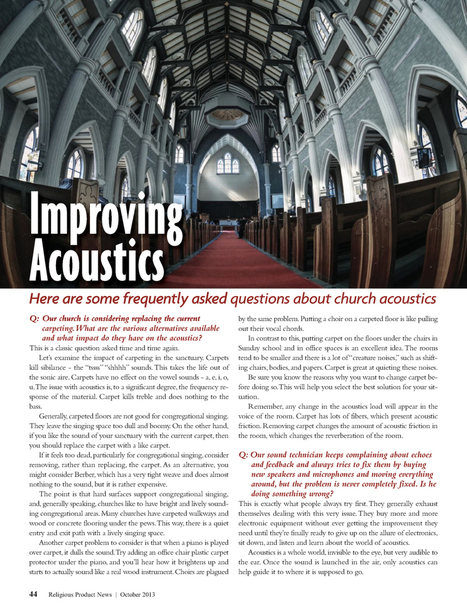 Religious Product News October 2013 Page 44   Sontext Acoustic Wood Panels   Scoop.it
