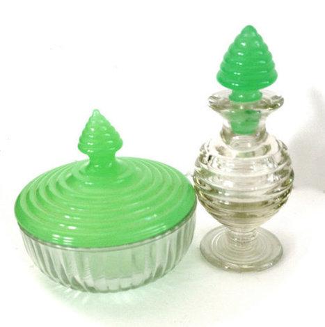 Vintage Jadite Green Perfume Bottle and Powder Box   Vintage Jewelry   Scoop.it
