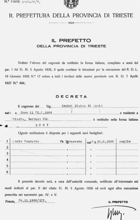 ITALIANCICH! Italianizzazione dei cognomi dal regime fascista | Généal'italie | Scoop.it
