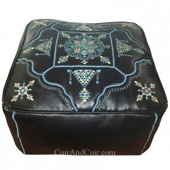 Luxueux pouf marrocain carré en cuir noir | Artisanat marocain du cuir | Scoop.it