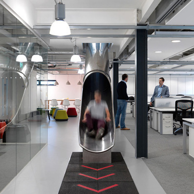 The Workshop offices by Guy Hollaway feature a tubular steel slide | bureau : espace innovant | Scoop.it