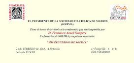 Sociedad Filatélica de Madrid: Mis Recuerdos de SOFIMA. Conferencia 24/02/2013. Francisco Aracil | SOFIMA al Día | Scoop.it