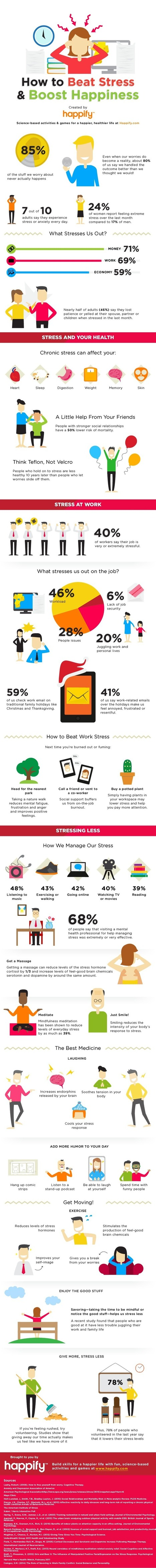 This Infographic Will Show You How to Beat the Stress & Boost Your Happiness | A Happy a Day | Scoop.it