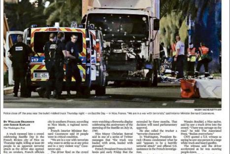 L'horreur à Nice à la une de la presse internationale | Courrier International | CLEMI. Infodoc.Presse  : veille sur l'actualité des médias. Centre de documentation du CLEMI | Scoop.it