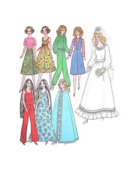 Vintage Retro Simplicity Sewing Pattern Barbie Doll Wardrobe Clothes Wedding Dress Cape Jogging Suit Pants Vest | Vintage Sewing Patterns | Scoop.it