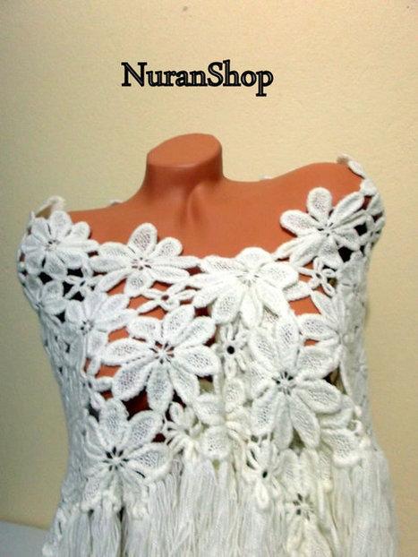 Angles Lace Shawl - Bridal Shawl - Daisy Shawl - White Shawl -Crochet Shawl -Wedding White Shawl | summer | Scoop.it