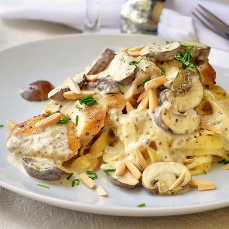 #Recipe - Dijon Chicken Linguine with Crimini Mushrooms and Toasted Almonds | Food in Umbria | Scoop.it