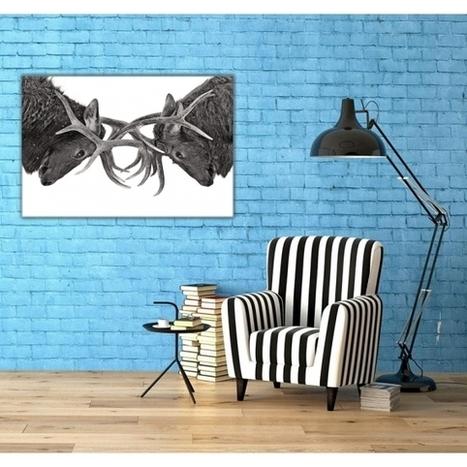 Tableau d'Art Combat de cerfs - ArtWall and Co   Décoration maison intérieure et extérieure   Scoop.it