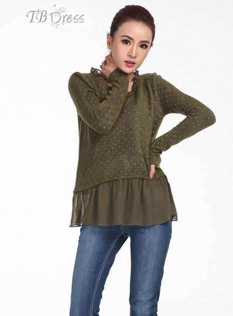Top Quality Loose Round Neckline Chiffon Sweater   the fashion clothes shoes dress bags   Scoop.it