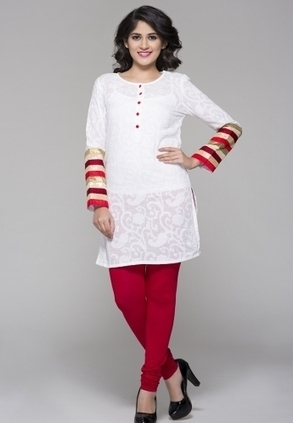 Designer White Kurta with Fabric for Women's, Buy White Kurta with Fabric Button N Cut Panel Sleeves Only Rs-1,699 At Best Online Designer Store. Shop Online For Designer Clothing For Ladies With B... | Buy  Women Shirts‎ on itibeyou.com | Scoop.it