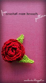 Free Crochet Pattern - Rose Brooch with Leaves | Crochet | Scoop.it