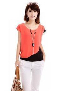 Zehui Women's Crew Neck Block Color Short Sleeve Shirt Chiffon Tops Blouse | btklwl | Scoop.it