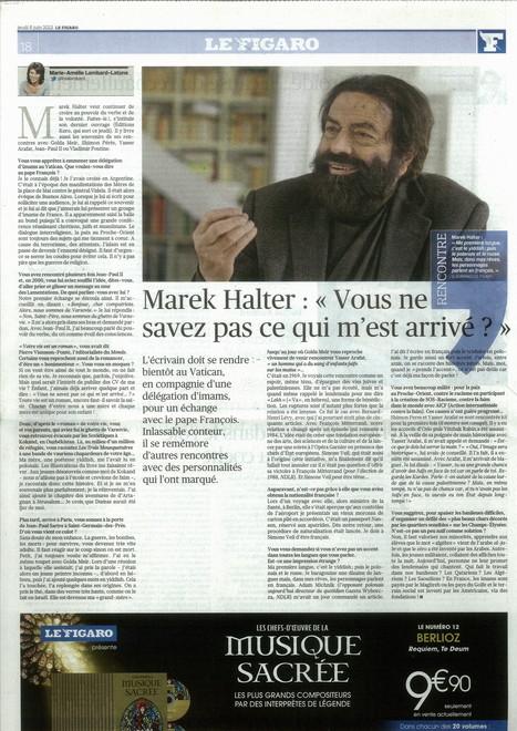 """Pour la sortie de """"Faites-le!"""", Marek Halter livre ses souvenirs au Figaro   Marek Halter   Scoop.it"""