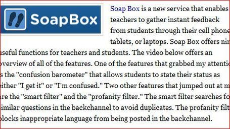 Free Technology for Teachers: Soap Box - A Backchanneling Tool for Tablets, Phones, and Laptops | History and Geography in the 21st Century Classroom | Scoop.it