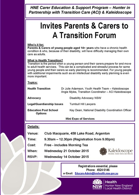 Free Parent-Carer Forum for adolescent transition to adult health services   21 Oct   Club Macquarie, Argenton   All things NDCO!   Scoop.it