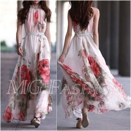 Summer Sexy Women's Maxi Sleeveless Floral Casual Beach Party Long Chiffon Dress | contemporary fashion design | Scoop.it
