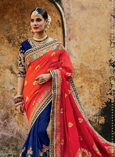 Orange & Blue jacquard and silk wedding wear Indian saree with blouse | Indian Ethnic Wear | Scoop.it