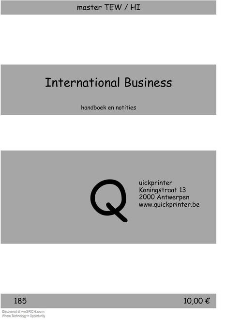 International Business Handboek en Notities, Business | wesrch | Scoop.it
