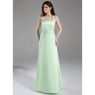 [US$ 103.99] A-Line/Princess Halter Floor-Length Satin Bridesmaid Dress With Ruffle Crystal Brooch (007001863) | lovely girl | Scoop.it