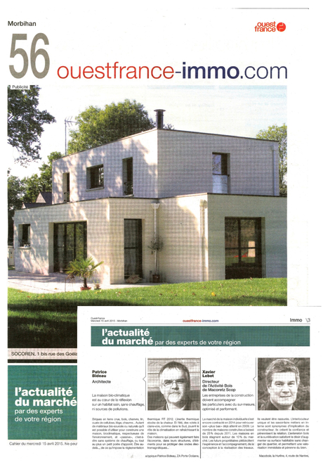 """ CAHIER OUEST-FRANCE IMMO 56 du 15 Avril 2015 "" | Architecture Organique | Scoop.it"