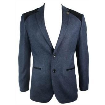 Mens Navy Blue Vintage Tweed Blazer Jacket Black Velvet Elbow Smart Casual | Mens clothing | Scoop.it