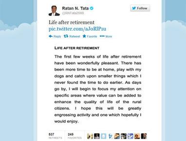Life after retirement, Ratan Tata tweets,രത്തന് ടാറ്റ ഹാപ്പിയാണ്! -Offbeat, Mathrubhumi Business | Handicraft | Scoop.it