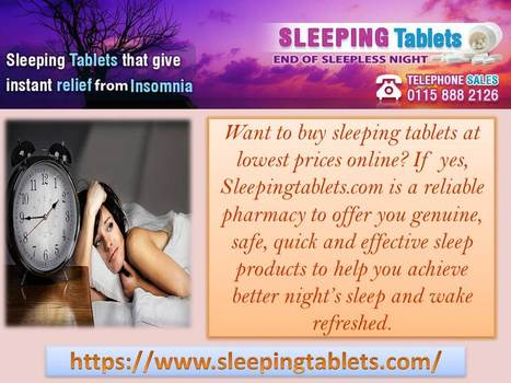 Buy Sleeping Pills for Better and Effective Slumber at Night | Solution of Sleeping Disorder (Insomnia) | Scoop.it