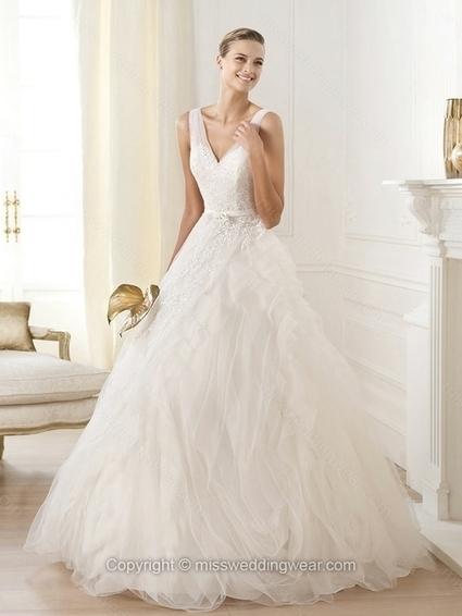 Ball Gown V-neck Tulle Floor-length Sashes / Ribbons Wedding Dresses   2014 wedding dress online   Scoop.it