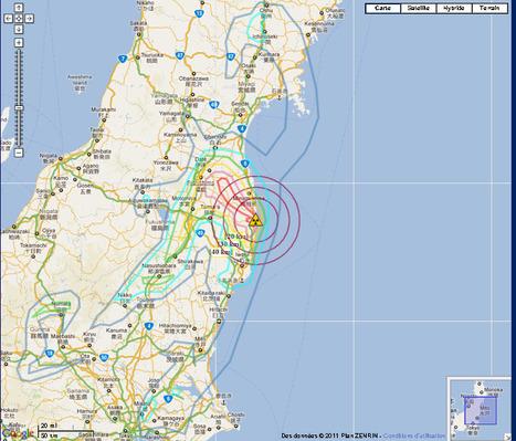 【地図】福島第一原子力発電所からの【距離】-Fukushima I Nuclear Power Plant Range Map 2011 | Mapping & participating: Fukushima radiation maps | Scoop.it
