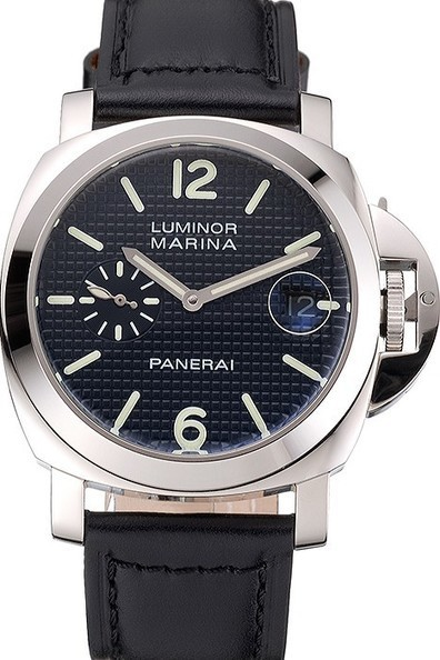 Replica Panerai Luminor Marina Date Black Hobnail Pattern Dial Stainless Steel Case Black Leather Strap-$320.00 | Men's & Women's Replica Watches Collection Online | Scoop.it