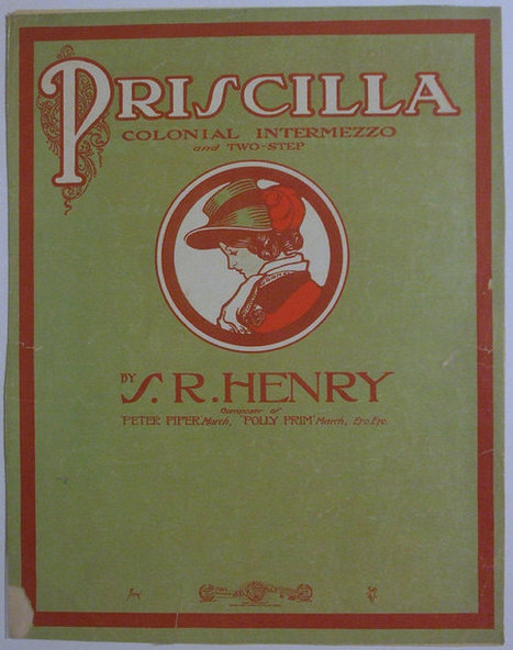 """1905 Antique Sheet Music """"Priscilla"""" Colonial Intermezzo and Two-Step 11 x 14 
