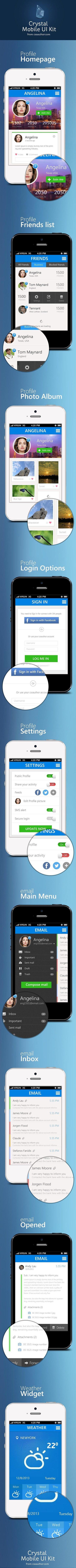 Crystal - Mobile Application UI Design PSD - Freebie No: 97 | UI Design PSD | Scoop.it