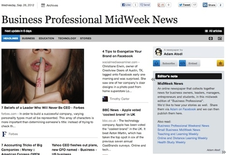 Sept 26 - Business Professional MidWeek News is out | Transformations in Business & Tourism | Scoop.it