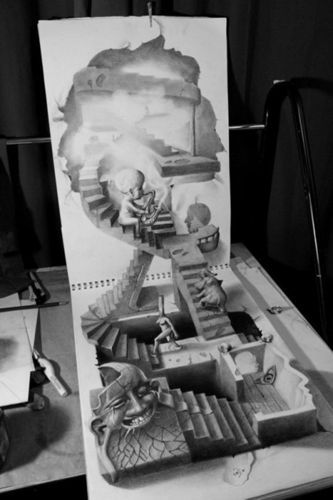 Anamorphic 3D Pencil Drawings by Fredo | Drawing | Scoop.it
