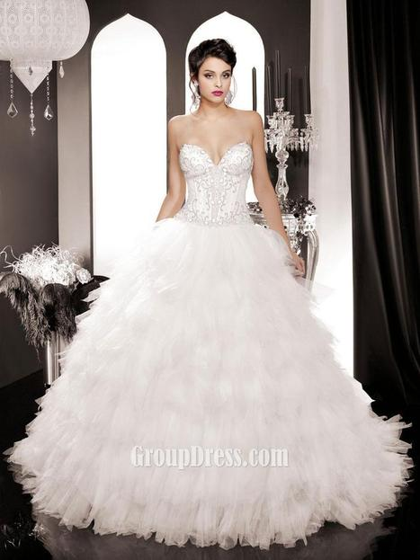 Organza Ruffled Wedding Dress with Sweetheart Corset Bodice | Woman Wedding Dresses | Scoop.it