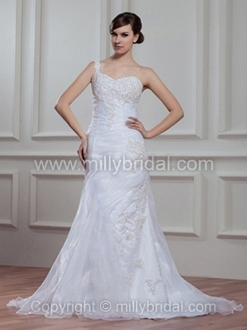 Sheath/Column One Shoulder Organza Court Train Appliques Wedding Dresses - www.millybridal.com | wedding and event | Scoop.it