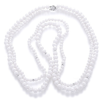Orchira white pearl double strand opera necklace | Pearls & Fashion | Scoop.it