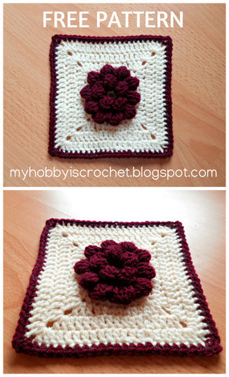 Dahlia in a square - Granny Square - Free Pattern with Photo Tutorial | Needle and Hook Patterns-all free | Scoop.it