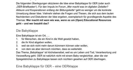 Eine Babyklappe für OER! Ein Vorschlag zur Arbeitsteilung zwischen  OER-Amateuren und OER-Profis | All about (M)OOC & OER | Scoop.it