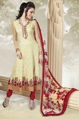 Jacquard Indian Churidar Salwar Kameez Cream Crepe PR40689006 | Designer Salwar Kameez | Party Wear Salwar Kameez | Bollywood Churidar Salwar Kameez | Scoop.it