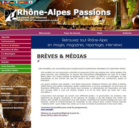 Artis Mirabilis, une association pour (re)découvrir le patrimoine rhônalpin | septembre 2010 | Rhône-Alpes Passion | ARTIS MIRABILIS : toute la revue de presse | Scoop.it