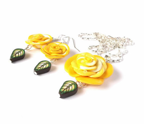 Yellow Roses Earrings and Necklace Polymer Clay Silver Jewelry Green Leaves | Jewlery | Scoop.it