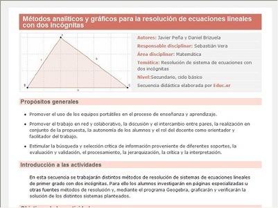 Métodos analíticos y gráficos para la resolución de ecuaciones lineales con dos incógnitas | Sistema de ecuaciones lineales | Scoop.it