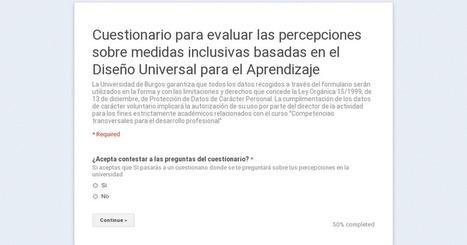 Cuestionario para evaluar las percepciones sobre medidas inclusivas basadas en el Diseño Universal para el Aprendizaje   DUA Principio I Pauta 1   Scoop.it