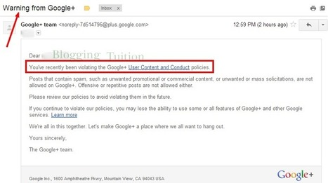 Prevent to Getting Banned from Google+ for Promoting Your Content - Blogging Tuition | Social Media | Scoop.it